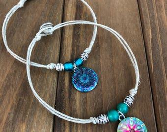 Mandala Anklet, Hemp Anklet, Summer Anklet, Spiritual Anklet, Hemp Jewelry, Beach Anklet, Mandala Jewelry, Meditation Jewelry, Yoga Anklet