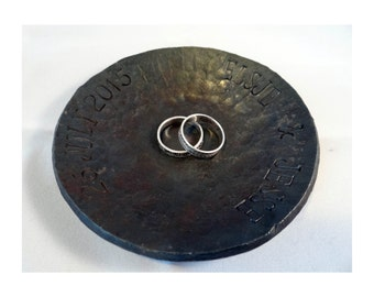 Wedding ring dish - 6th iron anniversary gift - steel wedding gift - personalized ring bearer - 11th anniversary gift -western wedding gift