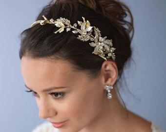Floral Gold Bridal Headband, Bridal Hair Accessories, Gold Bridal Headpiece, Floral Wedding Headband, Gold Wedding Headband, ~TI-3280