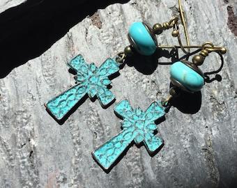 Celtic Cross Earrings,Green Patina Earrings,Turquoise Earrings,Cowgirl Earrings,Southwestern Earrings,Santa Fe Earrings