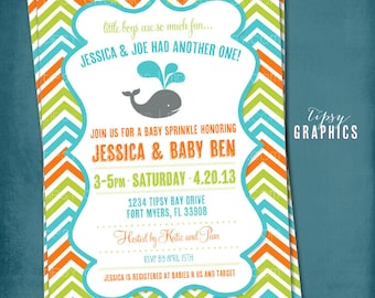 Baby Whale Chevron Baby Sprinkle Shower or Birthday Invite by Tipsy Graphics. Orange Green Turquoise