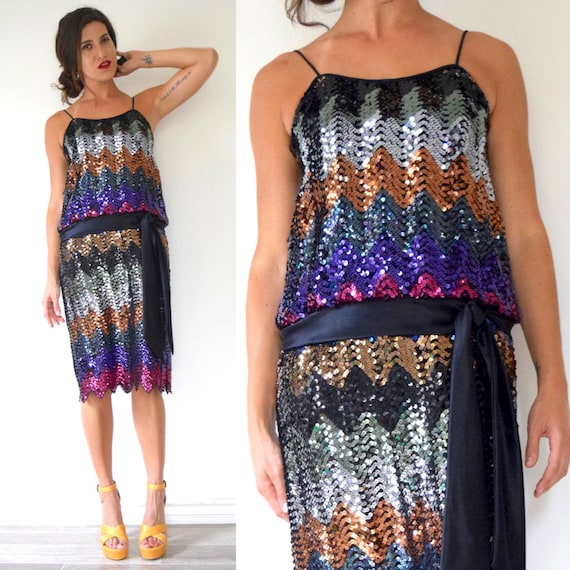 Vintage 80s does 20s Rainbow Sequined Chevron Striped Dropped Waist Flapper Style Cocktail Dress (size small, medium)