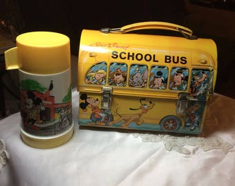 Awesome Disney School Bus Lunch Box with Decanter