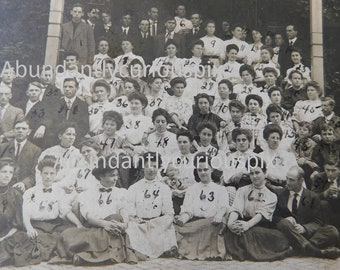antique group photo, large group of men and women,vintage school photo, cabinet card, sepia photography