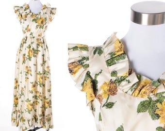 1950s Vintage Emma Domb Floral Print Full Length Party Dress -Size 7 - Sleeveless Ruffle Trim - Retro Prom Dress