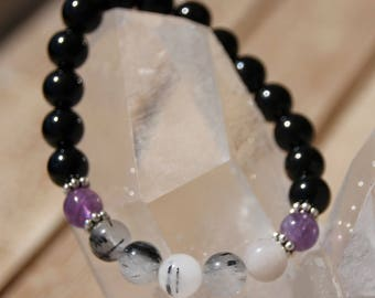 tourmaline and tourmalated quartz bracelet