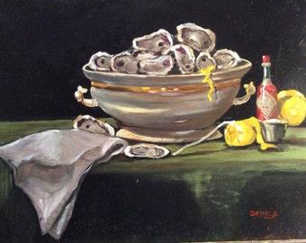 Louisiana oysters art print, New Orleans art, Louisiana art, Cajun kitchen, Seafood art, Acadiana art, Home decor, Cajun decor, Wall art