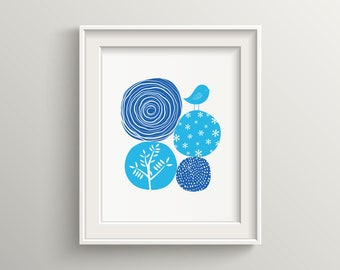 Abstract nature blue, modern, minimalist, art print, blue color floral art for home decorations, nature art print, botanical decor, bird art