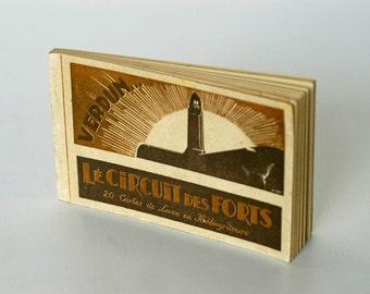 french vintage postcard book / VERDUN / 20 cartes de luxe 'en héliogravure' / vintage postcards / sepia / gravure / collectible cards