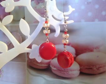 Long earrings cherry macarons in polymer clay and beads / gift idea