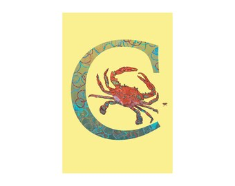 C is for Crab Open Edition Fine Art Alphabet Print // Nursery Art Gift Housewarming School Classroom // 13x19, 8.5x11, or 5x7