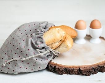 Bread bag - Linen Drawstring bag - Lingerie travel bag - Linen product bag - Polka dot bag - Linen bread bag - Housewarming gift