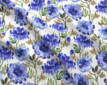 Growing Peony Fabric - Blue Peonies By Svetlana Prikhnenko - Blue Summer Watercolor Floral Cotton Fabric By The Yard With Spoonflower