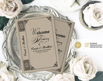 Wedding Program Template | Editable online | Instant Download  | Printable | Vintage Story book