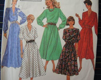 Vintage 1990s Simplicity sewing pattern 9951 misses easy to sew dress in three lengths size 10-12
