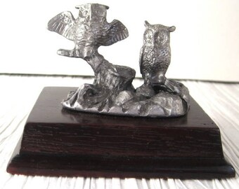 Two Owls on a Branch Vintage Pewter Paperweight Figurine