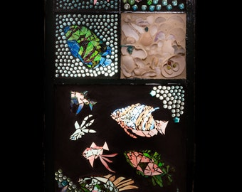 Mosaic Stained Glass Ocean Window, Fish, Sea Horses, Shells, Vintage Window ,Beach Decor, Under the Sea, Ocean Sun Catcher, Large Fish Decor