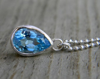 Ready To Ship Handmade Blue Topaz Gemstone Pendant, Sterling Silver Topaz  Charm Necklace, Pear Shaped Blue Stone Necklace