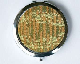 Art Nouveau Seaweed and Fish Compact Mirror Pocket Mirror design Pattern