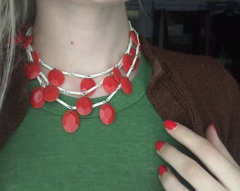 vintage 1960s red droplets enamelled necklace