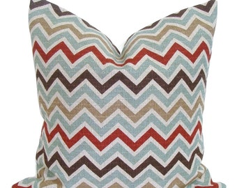 Pillow Cover Sale.CHEVRON PILLOW for 16x16 inch Pillows. Teal Chevron Pillow Cover.Decorative Pillows.Denton.Teal.Rust.Brown.Cm.