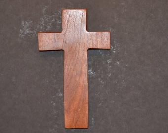 "Wooden Wall Cross; 4.5""x7""x1""; Rustic Cabin Decor;  Wall Cross Decor; Crooked Cross; Mesquite; Handmade;  Free Ground Shipping cc15-2121617"