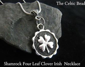 Four Leaf Clover Shamrock Silver Necklace