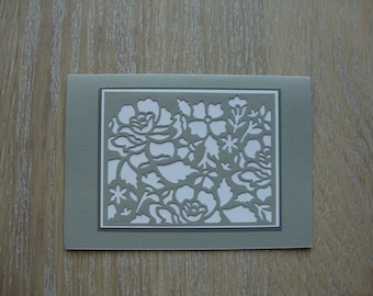 Gray and white lace card