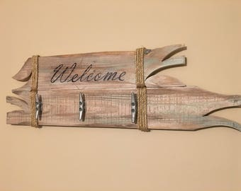 Nautical Rustic palletwood coat rack/driftwood coat rack