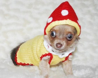 Small dog clothes dog costumes Mushroom Chihuahua clothes Chihuahua clothing xxxs xxs xs s m L xL pets puppy Yorkie sweater clothes for dogs