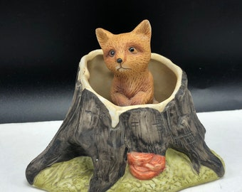 VINTAGE FOX FIGURINE porcelain animals sculpture statue knick knack puppy cub in log tree peek a boo wilderness baby