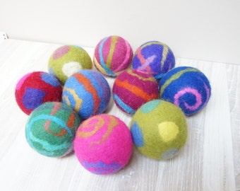 10 wool dryer balls large set of felted polka dots laundry cat dog pet baby children wedding birthday favor shower baby bridal stripe spiral