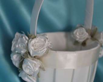 SALE-Ivory or White Flower Girl Basket with Coordinating Ribbon and White or Ivory Satin Organza Flowers