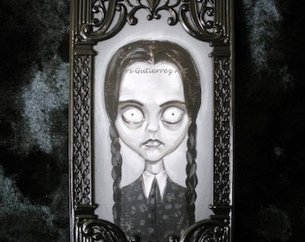"Addams Family ""Wednesday"" Original Painting by Lori Gutierrez!  OOAK Art!"