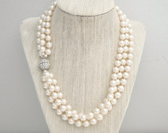 Bridal Necklace, Statement Wedding Necklace, Ivory Pearl Necklace, Multi Strand Necklace
