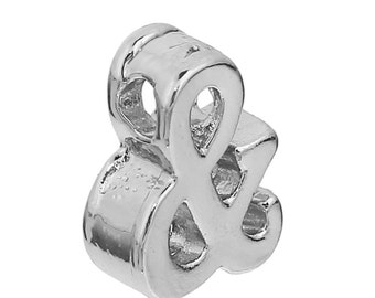 2pc Silver Plated Ampersand Pendants Charms - 11x9mm - &, Bridesmaid Wedding, DIY, Jewelry Making Supplies, And Symbol, Ships from USA - O58