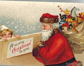 Christmas Santa Claus with Child - Ellen Clapsaddle high quality hand-painted oil painting reproduction for child room or christmas gift