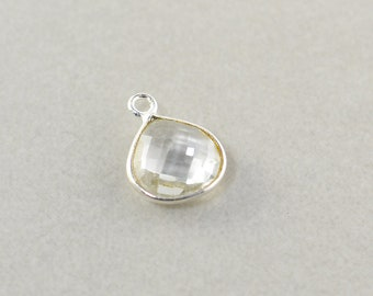Sterling Silver Clear Quartz Charm, Silver Gemstone Triangle Charm, 10mm Stone Charm, One