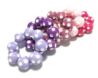 Toddler or Girls Polka dot Chunky bracelets - Dot Bracelet - Purple, Pink, Hot Pink Bracelet - Toddler Bracelets - Girls Bubblegum Bracelets