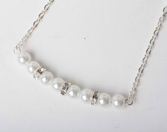 Collier perles, pearl necklace, braidemaid, mariage, cadeau pour elle, bff, collier chic