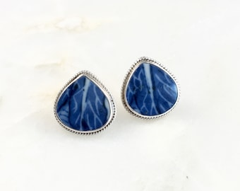 Vintage Sterling Blue Teardrop Stud Earrings