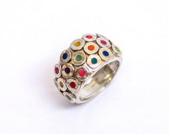 Colorful circles ring, Sterling silver ring with multi colors circles.Xoxo