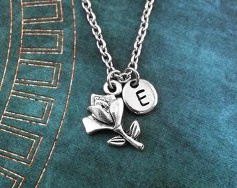 Rose Necklace, SMALL Custom Valentine's Necklace, Flower Necklace, Rose Pendant, Valentine's Day Jewelry, Rose Charm Necklace, Rose Jewelry