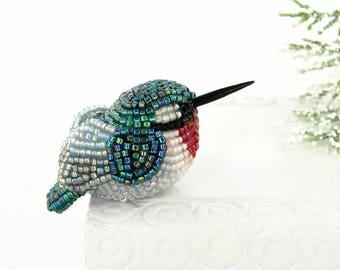 Hummingbird Figurine Miniature Beaded Ruby Throated Bird Animal Totem Stocking Stuffer Hostess Gift*READY TO SHIP