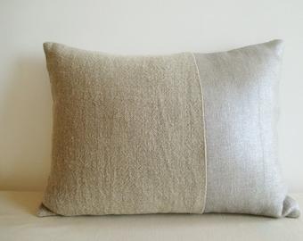 Silver  and Linen Metallic Pillow Cover , Lumbar ,  Decorative Pillow , Throw Pillow , Cushion Cover