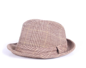 Vintage Mens Hat 6 3/4 / Mens Wool Fedora Hat / Brown Mens Fedora / Men's Tweed Fedora Womens Mens Fashion Fedora Men