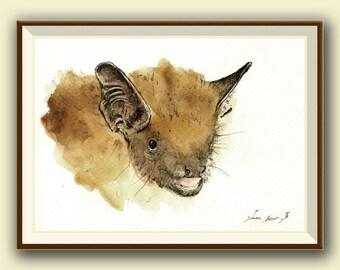 The serotine bat (Eptesicus serotinus) -Bat art -  Original watercolor painting- Juan Bosco