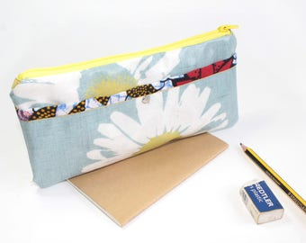 Floral Zipper pouch in oilcloth - vegan friendly - Pencil case - mid blue melange pencil pouch accessory - iPhone case - Back to School Gift