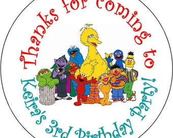 12 printed Sesame Street Elmo Cookie Monster 1st Theme Birthday Party Stickers 2.5 inch Round Personalized kids