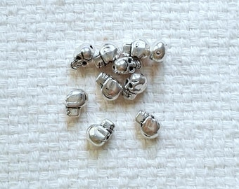 Tibetan Silver Skull Beads - 10 x 8 x 5 mm - Sets of 10                                                                   05/18